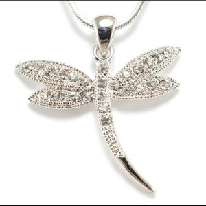 Believe Dragonfly Crystal Pendant Necklace